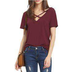 2016夏のtシャツ女性半袖vネック包帯tシャツカジュアルセクシーな女性tシャツcamisetas femininaトップスZ2506