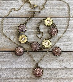 Bracelet Set, Necklace Set, Pendant Necklace, Green Colors, Blue Green, Druzy Jewelry, Bullet Jewelry, Bullets, Studs