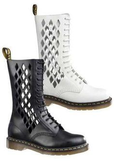 Martens x Jean-Paul Gaultier collaboration cut-out boots, Botas Dr Martens, Doc Martens Boots, Grunge Style, Soft Grunge, Galaxy Converse, Rain Boots, Bootie Boots, Shoe Boots, Le Happy