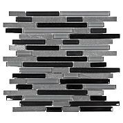 Bliss Black Timber Linear Blend Glass and Stone Mosaic Master Shower and Downstairs Bath Accent Tile