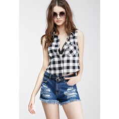 Forever 21 Women's  Boxy Gingham Plaid Shirt ($16) ❤ liked on Polyvore featuring tops, forever 21, sleeveless shirts, boxy crop top, white button up shirt, white sleeveless top and collared shirt