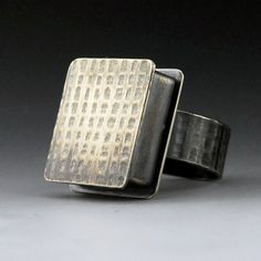 Burlap Tinkle Ring sterling silver textured box ring by Norsola
