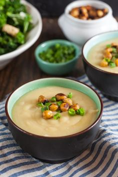 Miso Potato Soup with Crispy Chickpeas ~ http://www.healthy-delicious ...