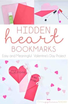 Looking for an easy Valentine's Day classroom craft to make with your kids? Check out this free and easy hidden heart bookmark idea! Valentines Day Activities, Valentines Day Party, Valentine Day Crafts, Holiday Crafts, Holiday Ideas, Valentine Ideas, Valentine's Day Crafts For Kids, Diy For Kids, Crafts To Make