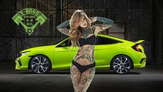 New Honda Civic Si #sexy #tattoo #girl ♠... X Bros Apparel Vintage Motor T-shirts, VW Beetles, Buses, Mustangs, Civics, Great price,  Find us on Etsy, Ebay, Facebook...♠.