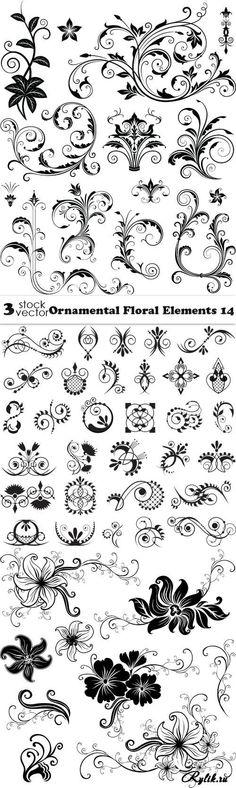 Декоративные цветочные элементы в векторе. Vectors - Ornamental Floral Elements 14
