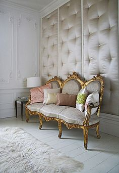 Image of a Traditional Tufted Accent Wall With Modern Touches