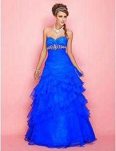 Blue Quinceanera Dresses | Vestidos de Quinceanera | Sweet 15 Dress Ideas | Blue Ruffled Strapless Dress with Rhinestones #quinceanera #sweet15 #vestidos