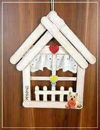 good use for those popicle sticks Ice Lolly Stick Crafts, Diy Popsicle Stick Crafts, Popsicle Stick Houses, Popsicle Crafts, Wood Crafts, Fun Crafts, Diy And Crafts, Crafts For Kids, Easter Crafts