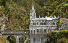 Las Lajas Sanctuary, Colombia This basilica church is built inside the canyon of the Guaitara River and the inspiration for it came from an incident in 1754 when a deaf-mute girl and her mother sheltered there from a storm and discovered an image of the Virgin Mary in the stone.
