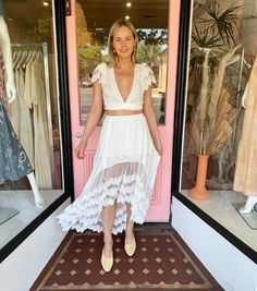 The Leora Kacy Skirt & Top set from Jaase is the ideal bohemian bride, or hens outfit. Affordable, effortless and gorgeous. Features lace trim on sleeves and skirt, elastic waistband on skirt, wrap tie up top with plunging neckline. Sold as a set, in store & online now. Skirt And Top Set, Two Piece Skirt Set, Cute Crop Tops, Bohemian Bride, Festival Looks, Store Online, Hens, Plunging Neckline, Lace Trim