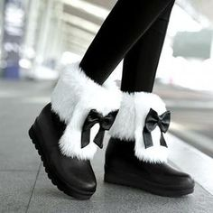 Bow Accent Faux-Fur Trim Snowboots from #YesStyle <3 JY Shoes YesStyle.com