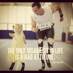Scott Hamilton quote over photo of Oscar Pistorius encouraging a little girl with blades like his.  His recent arrest for shooting his girlfriend cannot detract from the inspiration he has been to those with disabilities.