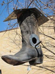 boot bird feeder