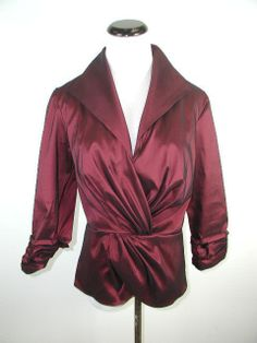 TADASHI SHOJI FANCY SPECIAL OCCASION RUCHED BURGUNDY RED FITTED JACKET 10