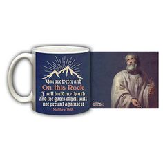 Get Your Shopping Done Online This Year. The Printery House Has Something for Everyone. Pictured: Ceramic Mug with Image of St. Peter and Verse from Matthew 16:18. printeryhouse.org