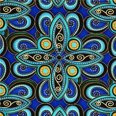blue designer fabric with ornament & gold embellishments