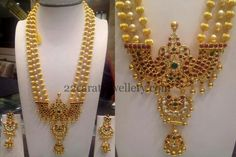 Jewellery Designs: Gold Beads Set with Pathakam Indian Jewellery Design, Indian Jewelry, Jewelry Design, Gold Jewelry, Beaded Jewelry, Gold Style, Gold Beads, Diamond Rings, Art Pieces
