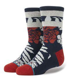 Navy & Red Blade Socks - Boys
