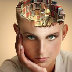 Books on her mind...  [Source Unknown. Possibly a stock photo from a German firm as searches show it used extensively in German e-zine psychology blogs] ... PhotoArt. Digital. Manipulation. Surreal Art. Library Head, Book Brain ... Portrait of a Booklover.  In her mind, she is surrounded by books, climbed the heights on her library ladders and is enjoying a good read. And you thought she was actually listening to you!? - pfb :-)