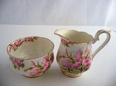 Royal Albert Blossom Time Cream And Sugar Bone China Reg No.