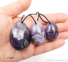 Lot 3 Oeufs YONI Améthyste quartz - Améthyste à Chevrons. Lot unique Quartz Rose, Chevrons, Pearl Earrings, Drop Earrings, Pearls, Unique, Jewelry, Crystals, Jewellery Making