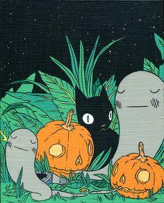 365 Days of Halloween Halloween Tumblr, Halloween Cat, Halloween Illustration, Illustration Art, Fall Cats, Witch Art, Weird Art, Cat Art, Art Inspo
