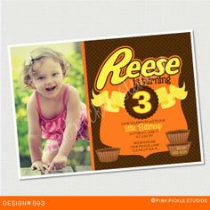 Chocolate Peanut Butter Cup Photo Invitation or Thank You Card. Custom Personalized DIY Party Printables / Design No. 593
