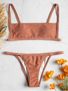 Ribbed Hook String Bikini Set - ORANGE SALMON S