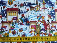 Kerst - Katoenen stof met een print van sneeuwmannetjes in een sneeuwlandschap (blauwe achtergrond)