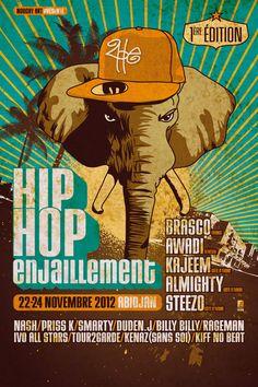 Fifty Fifty a conçu l'affiche du festival Hip hop ENJAILLEMENT* (2HE). Un événement qui réuni tous les acteurs du Hip Hop Ivoirien et des rappeurs internationaux. Il s'inscrit dans un procéssus de réconciliation nationale suite à la dure crise qu'a traversé le pays, avec une forte volonté pacificatrice d'une part, et une attention particulière portée à la cause des violences faites aux femmes, de l'autre.