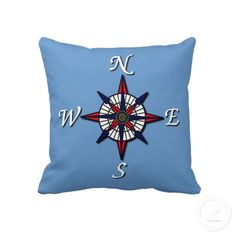 Unique, trendy and decorative double sided pillow. With beautiful contemporary image of maritime compass rose and dark navy blue vintage anchor. For the captain, sailor, boater, water sport, boating, sailing, ocean or sea lover. Cute boy's or girl's, mom's or dad's birthday present, Mother's or Father's day, or Christmas gift. Original, cool and fun pillow for the master or children's bedroom, nursery, living or family room, patio or deck, cabin, boat or yacht, beach house or vacation home.