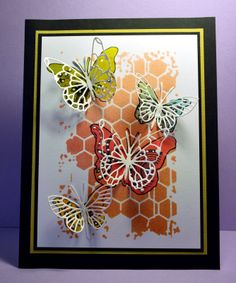 Memory Box stencil- Honey Comb 88521, Memory Box dies- Kaleidascope Butterfly 98261, Vivienne Butterfly 98265 from Eileen's Crafty Zone