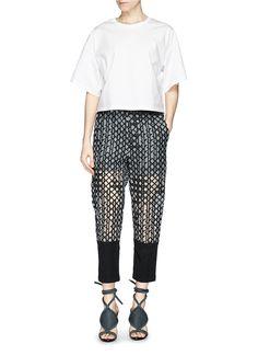 3.1 PHILLIP LIM - Caning embroidery silk trim organza pants | Black Straight Pants | Womenswear | Lane Crawford