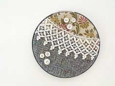 Crazy Quilt Vintage Collage Wall Art in Embroidery Hoop