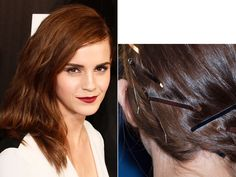 Why bother trying to hide all the pins holding your strands in place? Let them double as a cool hair accessory instead! To create Emma Watson's flirty-edgy style, create a deep side part and pin half of your hair back and up, leaving the rest down.   - Seventeen.com