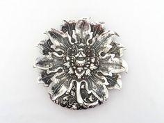 Yogya Lotus Flower Dish - Art Deco Silver Bonbon Dish - 8.7 inch (22 cm) - 800 Silver - 1930s Artisan Silverwork at VintageArtAndCraft