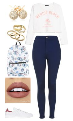 """370"" by rhay-q ❤ liked on Polyvore featuring Topshop, MANGO, adidas, NYX, Kendra Scott, Loushelou and Disney"