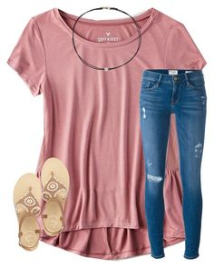 """""""I'm here to drink all the wine & have all the fun """" by masynleighm ❤ liked on Polyvore featuring American Eagle Outfitters, Frame, Jack Rogers and Dogeared"""