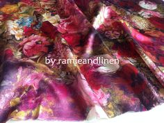 "silk fabric, 21m/m Digital Printing Silk fabric, 100% silk crepe satin fabric, floral print Silk Charmeuse Fabric, half yard by 54"" wide"