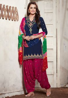 Embroidered Poly Cotton Punjabi Suit in Navy Blue