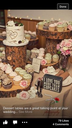 Cute ! I love this one with the tiny cake and cupcakes especially love the tree accents
