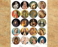 Digital stickers Religious Images Madonna Stickers Mother &