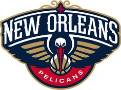 New Orleans Pelicans Primary Logo (2014) - A head-on view of a pelican with wings spread and basketball, with crescent, below its beak.  New Orleans arched above the bird with a red fleur-de-lis.  Pelicans below on red.