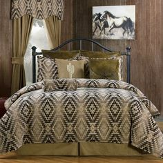 Victor Mill Mesa Brown Southwestern Bedding Comforter or Duvet Set in Twin, Full, Queen, King, Cal King and as a Daybed Set Southwestern Bed and Bath Home Decor Brown Comforter, Bedroom Comforter Sets, King Comforter, Duvet Sets, Southwestern Bedding, Southwest Decor, Brown Duvet Covers, Western Bedding Sets, Daybed Sets
