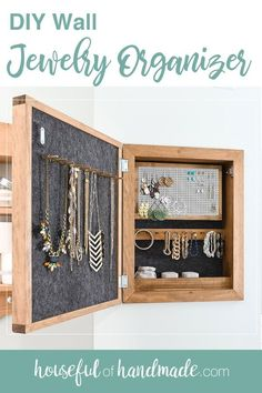 This easy to build wall jewelry organizer will become your new favorite part of any room. The front of the jewelry cabinet is a modern wood sign that you can put any design on. But the inside is where the magic happens. And I partnered with Kreg Tools and their new project plan site, BuildSomething.com, to share the build plans with you for free! #organization #bedroomorganization #storage