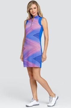 """#lorisgolfshoppe Women's Golf Apparel offers a classy collection of golf skorts, shorts, dresses, and golf tops. You gotta see this AZURITE GLOW (Zig Zag) Tail Ladies Aniyah 36.5"""" Sleeveless Golf Dress with unique , pretty colors!"""