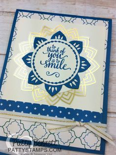 Eastern Palace Medallion card idea with gold foil sticker - new from Stampin Up! Card by Patty Bennett
