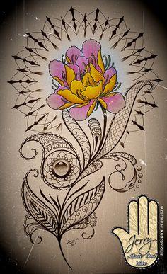 lotus flower and mandala tattoo idea with mendi and lace patterns. By Dzeraldas Kudrevicius, Atlantic Coast Tattoo. Cornwall