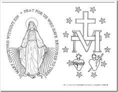Immaculate Heart of Mary | Miraculous Medal Coloring Page – formatted to have the front and ...